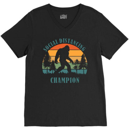 Funny Bigfoot Vintage Social Distancing Champion Long Sleeve T Shirt C V-neck Tee Designed By G3ry