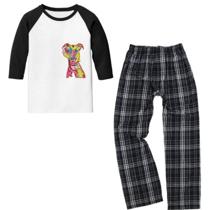 Funny Dog Holding Magnifying Youth 3/4 Sleeve Pajama Set Designed By Kemnabi