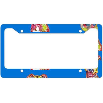 Funny Dog Holding Magnifying License Plate Frame Designed By Kemnabi