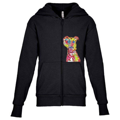 Funny Dog Holding Magnifying Youth Zipper Hoodie Designed By Kemnabi