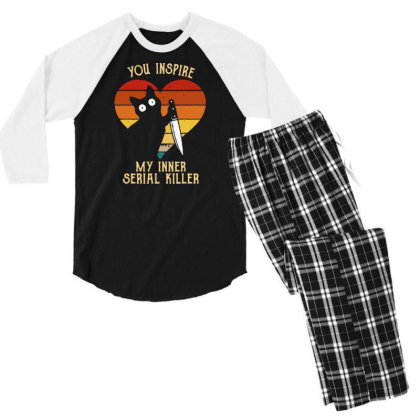 Funny Cat In Heart You Inspire Me My Inner Serial Killer Men's Long Sl Men's 3/4 Sleeve Pajama Set Designed By G3ry