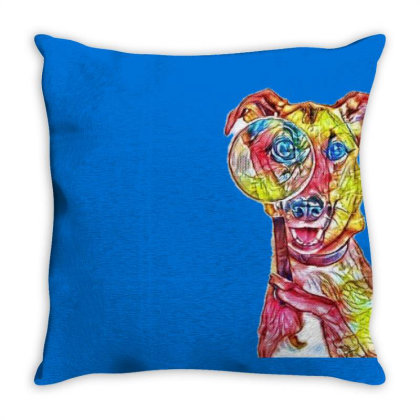 Funny Dog Holding Magnifying Throw Pillow Designed By Kemnabi