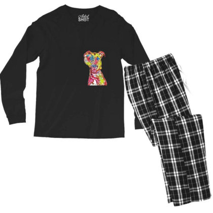 Funny Dog Holding Magnifying Men's Long Sleeve Pajama Set Designed By Kemnabi