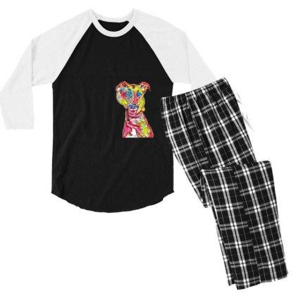 Funny Dog Holding Magnifying Men's 3/4 Sleeve Pajama Set Designed By Kemnabi