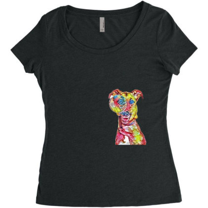 Funny Dog Holding Magnifying Women's Triblend Scoop T-shirt Designed By Kemnabi