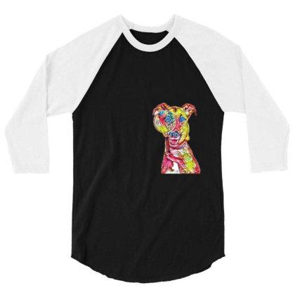 Funny Dog Holding Magnifying 3/4 Sleeve Shirt Designed By Kemnabi