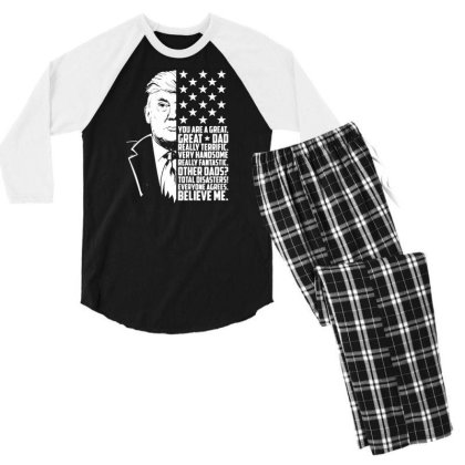 Funny Donald Trump Great Dad T Shirt For Men Father's Day American Fla Men's 3/4 Sleeve Pajama Set Designed By G3ry