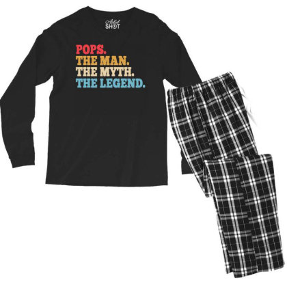 Funny Father Pops T Shirt Size Men's Long Sleeve Pajama Set Designed By G3ry