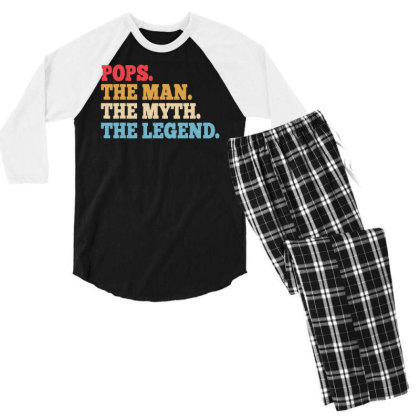 Funny Father Pops T Shirt Size Men's 3/4 Sleeve Pajama Set Designed By G3ry