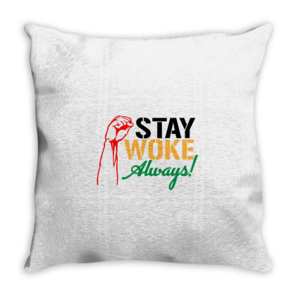 Stay Woke Always! Throw Pillow Designed By Qudkin