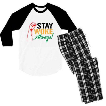Stay Woke Always! Men's 3/4 Sleeve Pajama Set Designed By Qudkin
