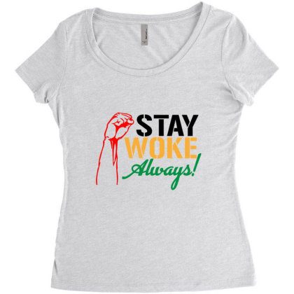 Stay Woke Always! Women's Triblend Scoop T-shirt Designed By Qudkin