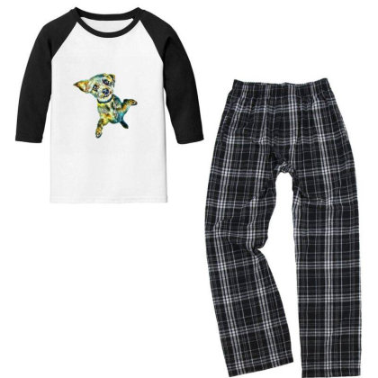 Cute Little Dog Standing On H Youth 3/4 Sleeve Pajama Set Designed By Kemnabi