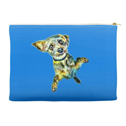 Cute Little Dog Standing On H Accessory Pouches Designed By Kemnabi