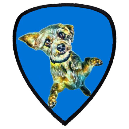 Cute Little Dog Standing On H Shield S Patch Designed By Kemnabi