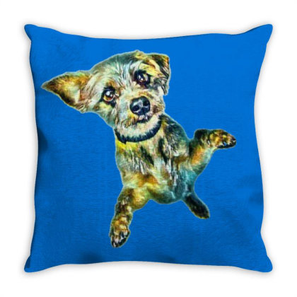 Cute Little Dog Standing On H Throw Pillow Designed By Kemnabi