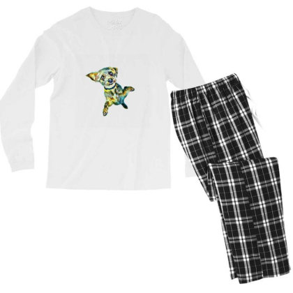 Cute Little Dog Standing On H Men's Long Sleeve Pajama Set Designed By Kemnabi