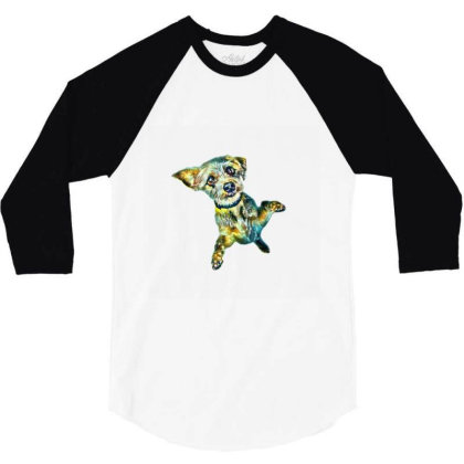 Cute Little Dog Standing On H 3/4 Sleeve Shirt Designed By Kemnabi