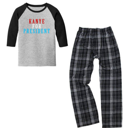 Kanyee For President 2020 Youth 3/4 Sleeve Pajama Set Designed By Otak Atik