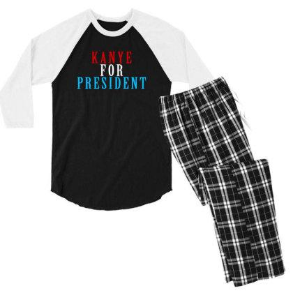 Kanyee For President 2020 Men's 3/4 Sleeve Pajama Set Designed By Otak Atik