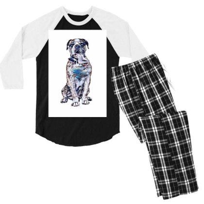 Funny Photo Of Thirsty Dog Wi Men's 3/4 Sleeve Pajama Set Designed By Kemnabi
