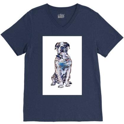 Funny Photo Of Thirsty Dog Wi V-neck Tee Designed By Kemnabi