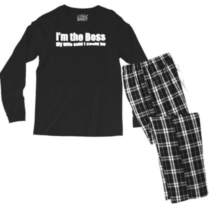 Funny I'm The Boss My Wife Said I Could Be   T Shirt Black   Medium (m Men's Long Sleeve Pajama Set Designed By G3ry