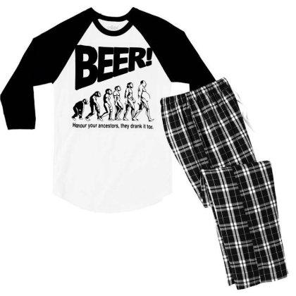 Funny Mens T Shirts = Novelty Joke Printed Clothing = Beer Men's 3/4 Sleeve Pajama Set Designed By G3ry