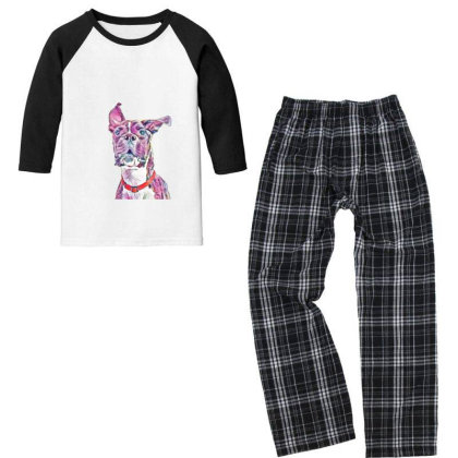 Large Playful Boxer Crossbree Youth 3/4 Sleeve Pajama Set Designed By Kemnabi