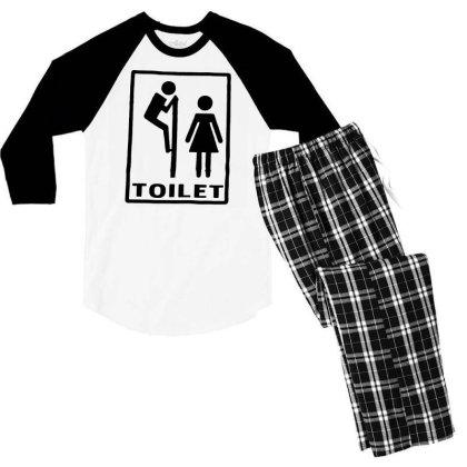 Funny Mens T Shirts = Novelty Joke Printed Clothing = Toilet Men's 3/4 Sleeve Pajama Set Designed By G3ry