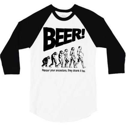Funny Mens T Shirts = Novelty Joke Printed Clothing = Beer 3/4 Sleeve Shirt Designed By G3ry