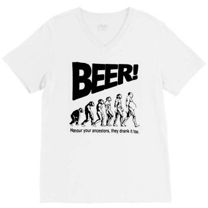Funny Mens T Shirts = Novelty Joke Printed Clothing = Beer V-neck Tee Designed By G3ry