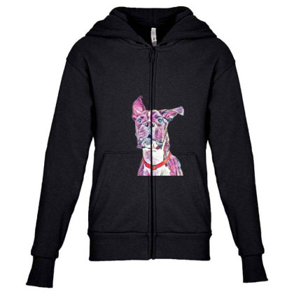 Large Playful Boxer Crossbree Youth Zipper Hoodie Designed By Kemnabi