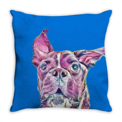 Large Playful Boxer Crossbree Throw Pillow Designed By Kemnabi