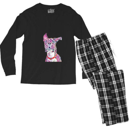 Large Playful Boxer Crossbree Men's Long Sleeve Pajama Set Designed By Kemnabi