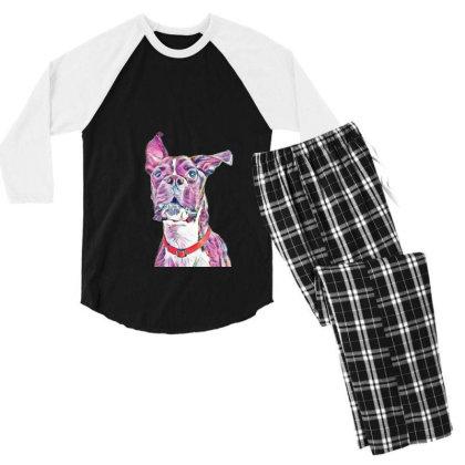 Large Playful Boxer Crossbree Men's 3/4 Sleeve Pajama Set Designed By Kemnabi