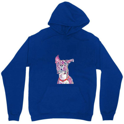 Large Playful Boxer Crossbree Unisex Hoodie Designed By Kemnabi