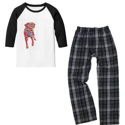 Funny Big Rottweiler Dog Wear Youth 3/4 Sleeve Pajama Set Designed By Kemnabi