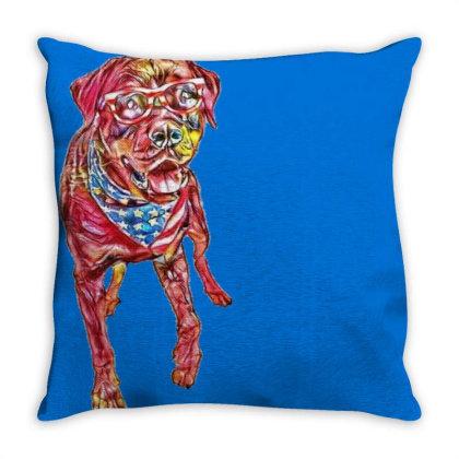 Funny Big Rottweiler Dog Wear Throw Pillow Designed By Kemnabi