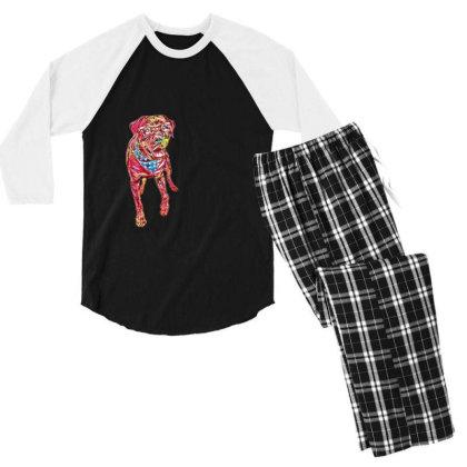 Funny Big Rottweiler Dog Wear Men's 3/4 Sleeve Pajama Set Designed By Kemnabi