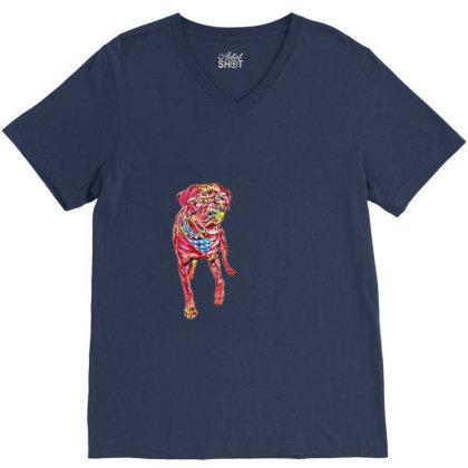 Funny Big Rottweiler Dog Wear V-neck Tee Designed By Kemnabi