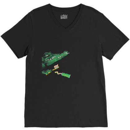 Crocodile V-neck Tee Designed By Disgus_thing