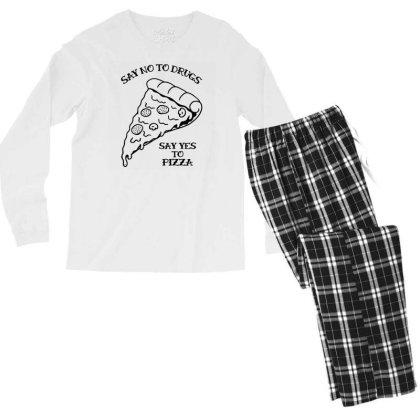 Funny Say No To Drugs, Say Yes To Pizza Ringer T Shirt Men's Long Sleeve Pajama Set Designed By G3ry