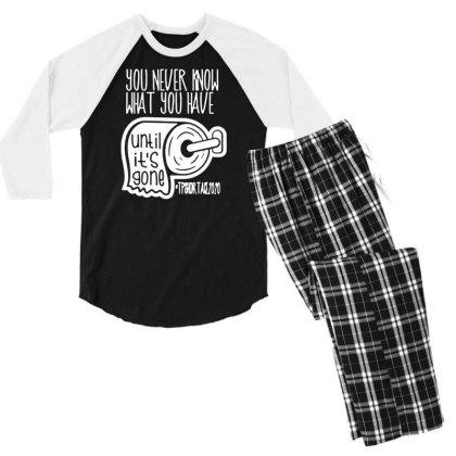 Funny Toilet Paper Shortage 2020 Shirts Quarantine And Social T Shirt Men's 3/4 Sleeve Pajama Set Designed By G3ry