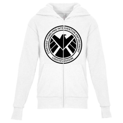 Agents Of Shield   Black Youth Zipper Hoodie Designed By Beach Boy