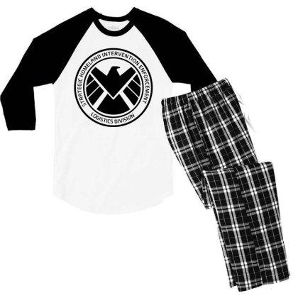 Agents Of Shield   Black Men's 3/4 Sleeve Pajama Set Designed By Beach Boy