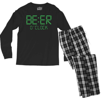 Funny T Shirt Beer O'clock Regular Fit 100% Cotton Tee Men's Long Sleeve Pajama Set Designed By G3ry
