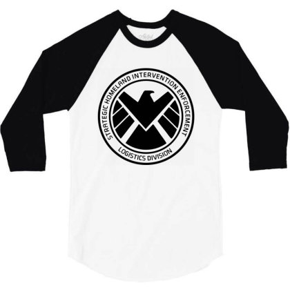 Agents Of Shield   Black 3/4 Sleeve Shirt Designed By Beach Boy