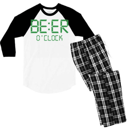 Funny T Shirt Beer O'clock Regular Fit 100% Cotton Tee Men's 3/4 Sleeve Pajama Set Designed By G3ry