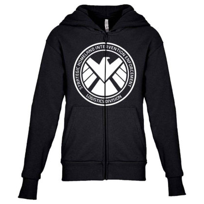 Agents Of Shield   White Youth Zipper Hoodie Designed By Beach Boy